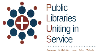 PLUS (Public Libraries Uniting in Service) Logo with plus symbol with circles around it
