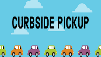 Curbside pickup with cars in a line