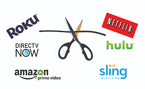 Scissors cutting cable cord with names of streaming services around it